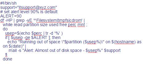 disk alert in linux