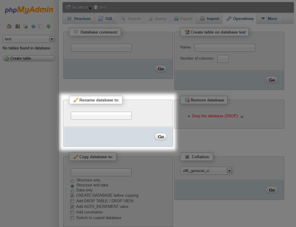rename database phpymadmin