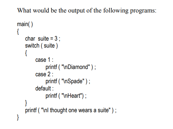 switch case output of the program example