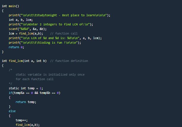LCM program example in c