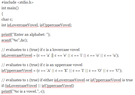 c program for vowel and consonent
