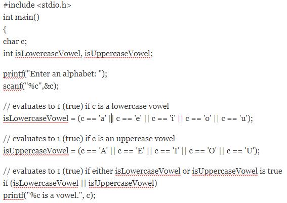 c program for vowel and consonent