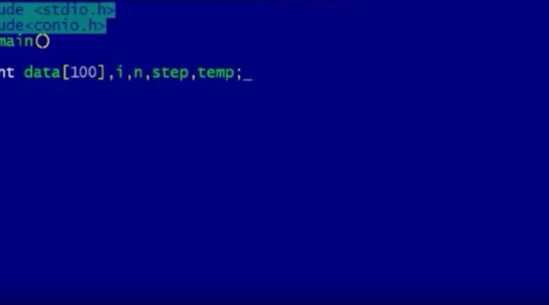 c program to sort array