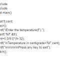 temperature Fahrenheit to Centigrade degrees c program