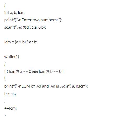 lcm program in c