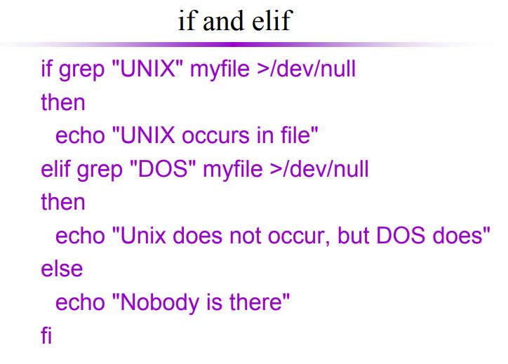 shell programming if elif statement