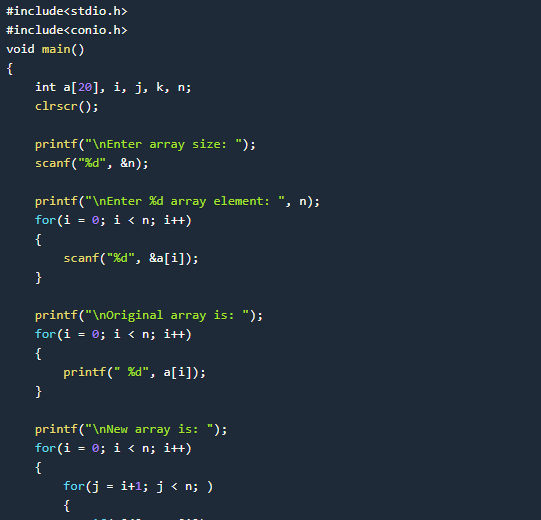 Simple Program to remove Duplicate Element in an Array