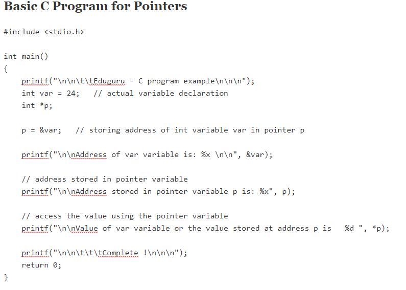 basic program of pointer